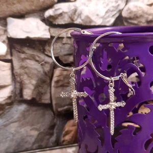 NWOT Silver Cross Earrings